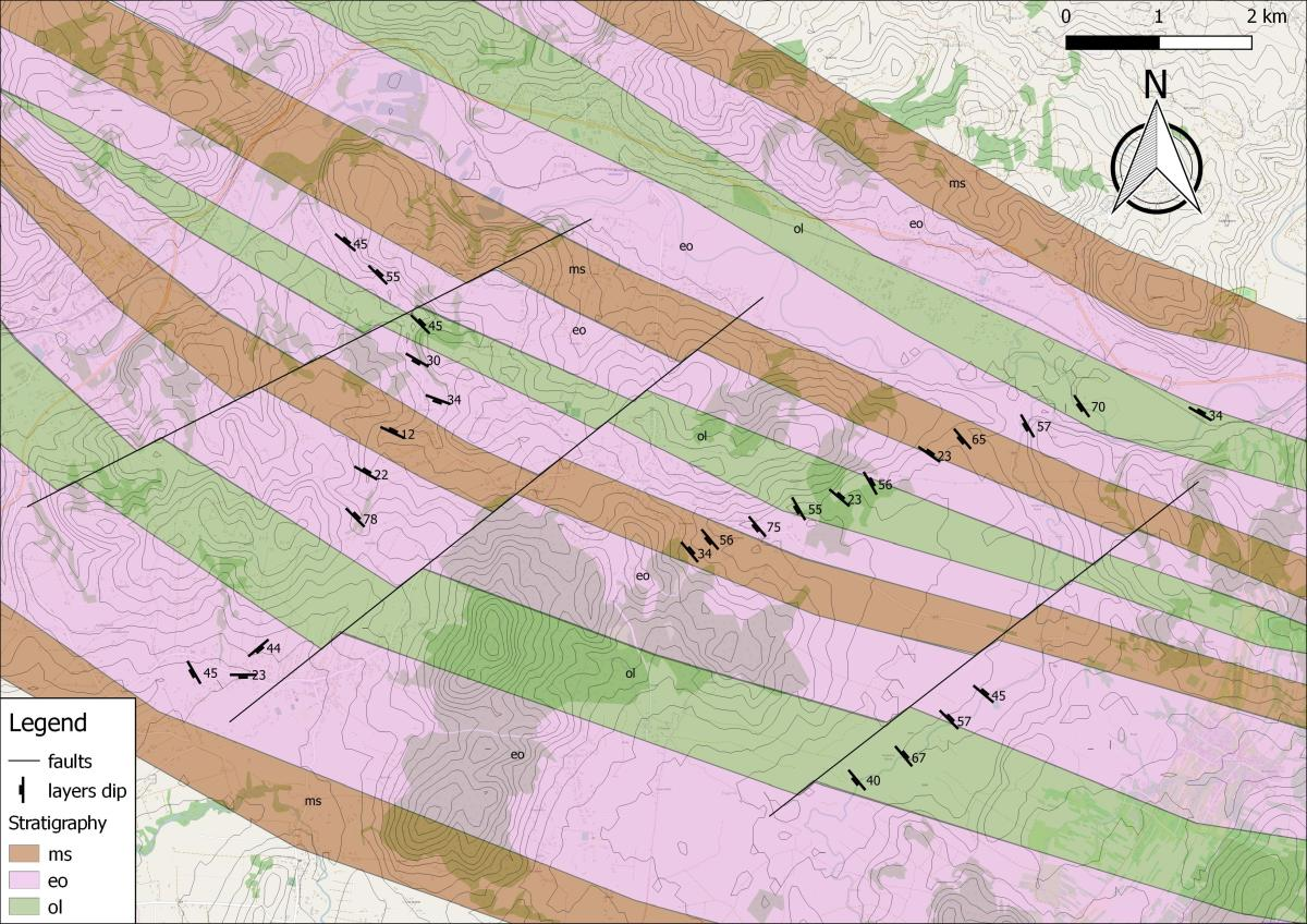 How to make Geological Map and Cross sections using Quantum GIS